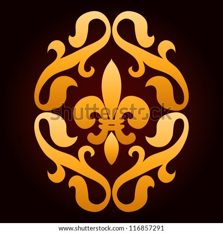 Golden french royal lily on dark background