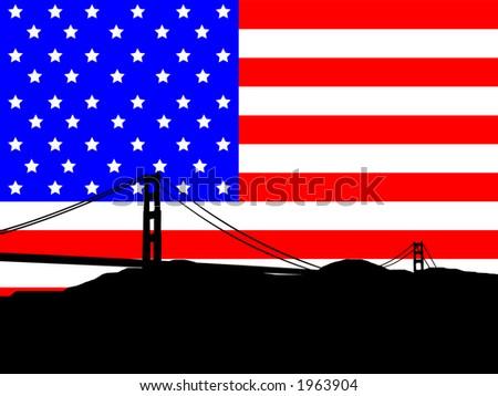 Golden Gate Bridge against American Flag