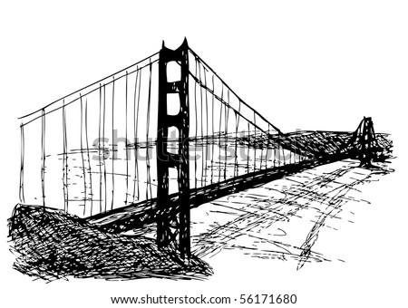 Golden Gate bridge hand drawn