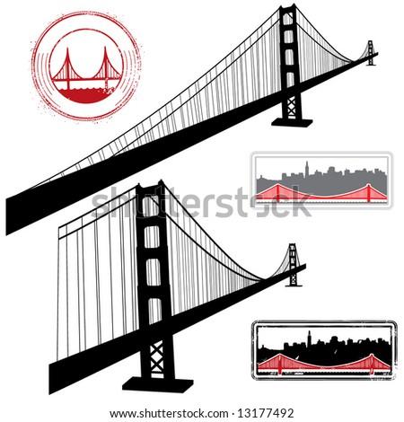 golden gate bridge drawing clip art. Golden Gate Bridge Vector