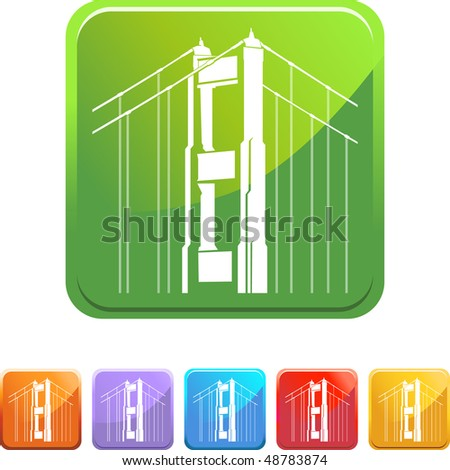 Golden Gate Bridge web button isolated on a background.