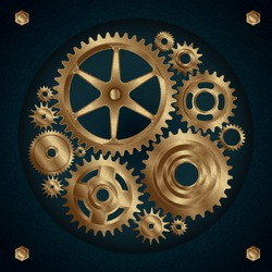 Golden gear mechanism illustration set.