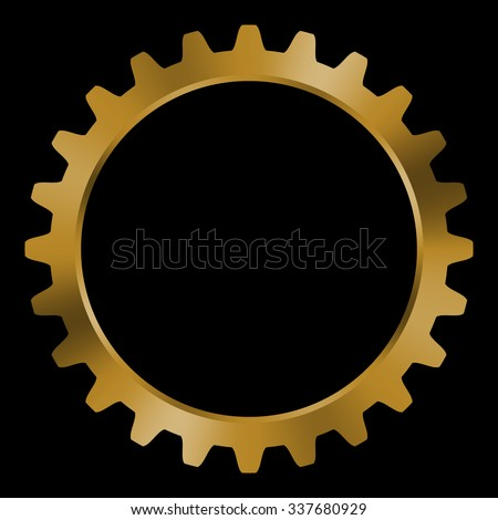 golden gear on black background
