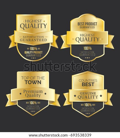 Golden Genuine Quality Badge, Sticker Set, Best Quality, Best Product, Satisfaction Guaranteed, Premium Quality, Vector Illustration