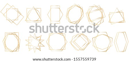 Golden geometric frames. Geometrical polyhedron, art deco style for wedding invitation, luxury templates, decorative patterns.