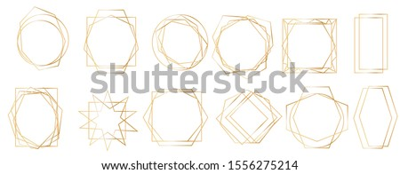 Golden geometric frames. Geometrical polyhedron, art deco style for wedding invitation, Realistic 3d Detailed Golden Polygonal Frames Thin Line Set for Invitation Decoration.