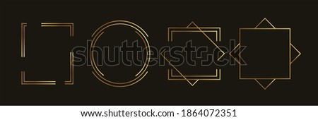 Golden geometric frames vector. Luxury Geometrical polyhedron, Art deco style for wedding invitation and VIP frame decoration. Stock photo ©