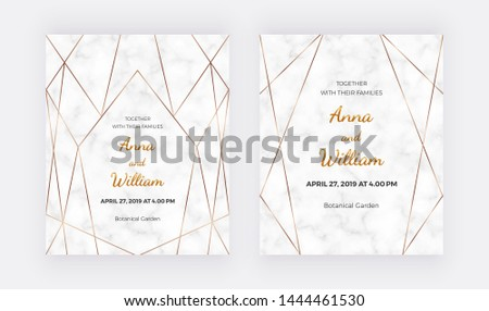 Golden geometric polygonal lines frames on the marble texture. Trendy templates for wedding invitation, banner, flyer, poster, greeting.  #1444461530