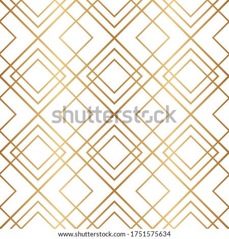 Golden geometric seamless pattern. Gold background. Art deco. Nouveau gatsby. Abstract texture. Vintage tile. Geometric background for design wallpapers, gift wrappers, covers, cases, prints. Vector