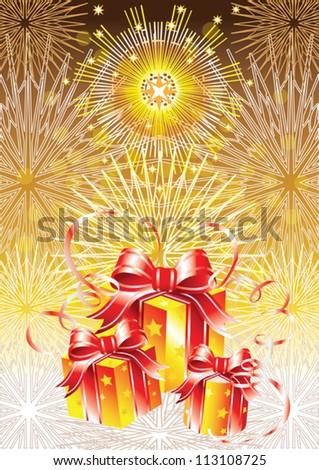 Golden gifts on golden background