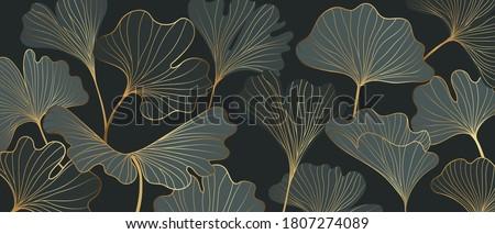 Golden Ginkgo leaves background vector. Luxury Floral art deco. Gold natural pattern design Vector illustration.