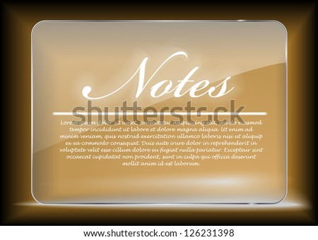 Golden glass board for web with pace for your text