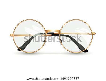 Golden glasses isolated on white background, round black-rimmed glasses, women's and men's accessory. Optics, see well, lens, vintage, trend. Vector illustration. EPS10