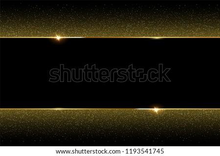 Golden glitter and shiny golden frame on black background. Vector horizontal luxury background.