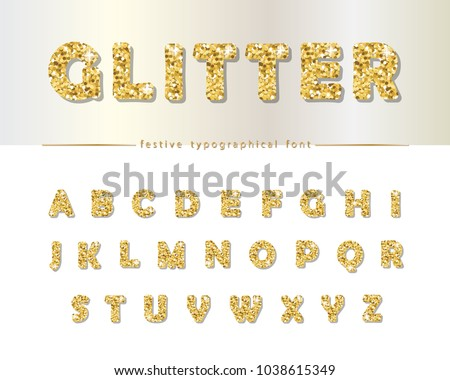 golden glitter font isolated on