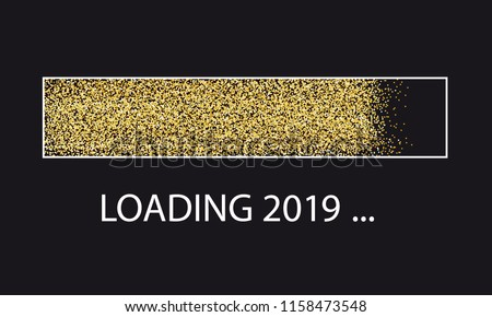 Golden Glitter Loading Bar New Year 2019 With Frame - Vector Illustration - Isolated On Black Background