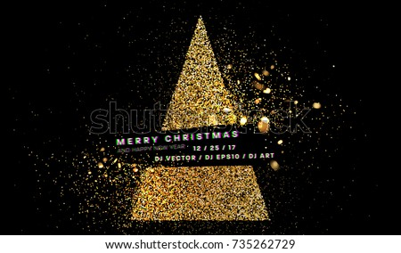 golden glitter merry christmas and happy new year greeting card template xmas decoration holiday