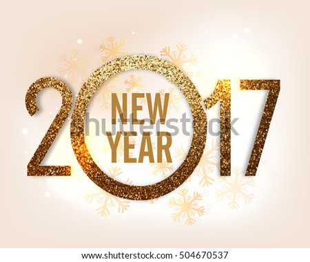 Golden glitter text 2017 on snowflakes decorated background for Happy New Year celebration.