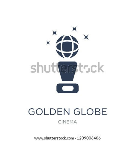golden globe icon trendy flat