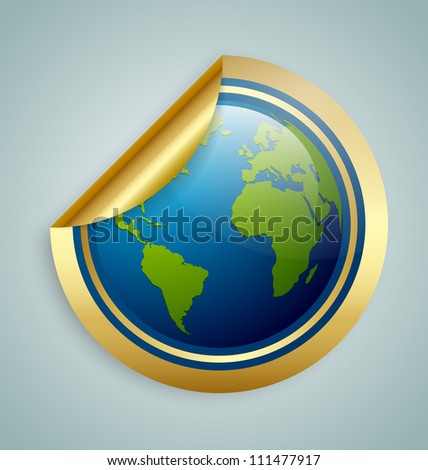 Golden glossy planet Earth sticker isolated on background