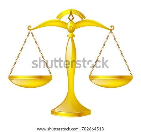Golden glossy scales, scales of justice. Isolated vector image of vintage scales.
