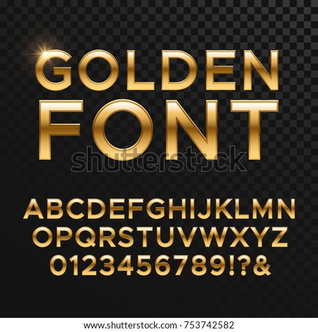 Golden glossy vector font or gold alphabet. Yellow metal typeface. Metallic golden abc, alphabet typographic luxury illustration