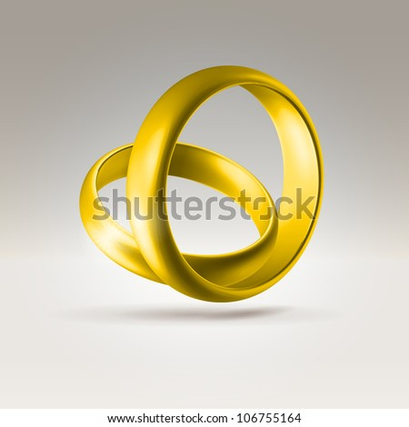 Golden glossy wedding band simple curved couple of rings hanging in light space