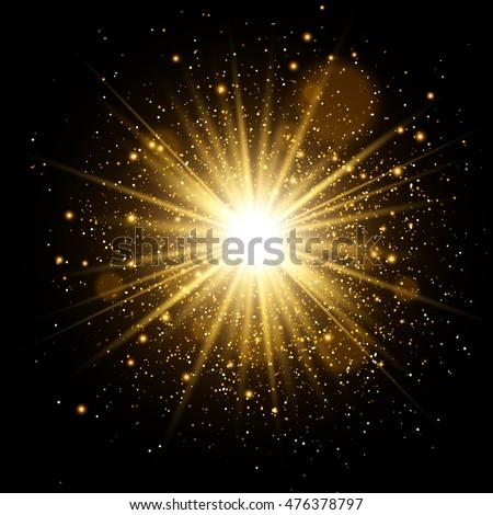 Golden Glow light effect. Star burst with sparkles. Vector Illustration