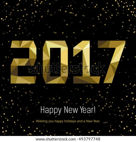 Golden glow 2017 new year background vector illustration. Calendar design typography vector illustration. Postcard design. #493797748
