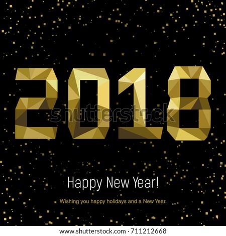 Golden glow 2018 new year background vector illustration. Calendar design typography vector illustration. Postcard design. #711212668