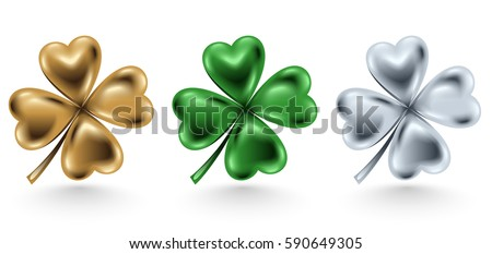 Stock Photo Golden, green and silver clover leaf isolated on white background, vector illustration for St. Patrick day. Four-leaf jewelry 3d design.