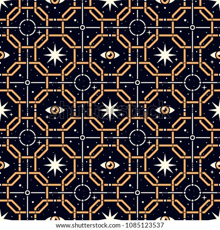 Golden Grid. Seamless pattern with stars, magic eyes, and golden lattice in esoteric style. Alchemy, space, spirituality, mysticism.