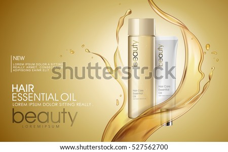 Golden hair oil ads, beautiful essential oil splashing on the cosmetic bottle in 3D illustration