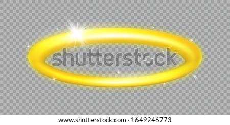 Golden Halo. Angel Ring. Angelic nimbus illustration. Holy golden circle. Saint aureole symbol. Isolated on transparent background. Stock fotó ©