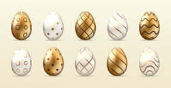 Golden Happy Easter. Set of Easter eggs with different patterns. Spring holiday. Happy easter eggs