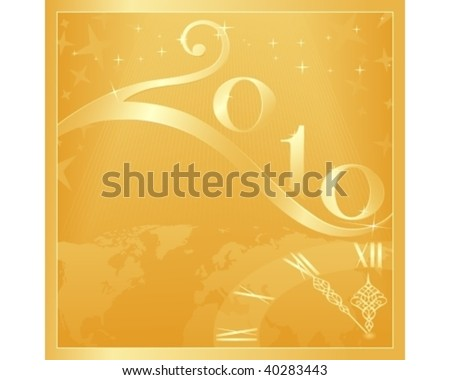 Golden 'Happy New Year and Merry Christmas 2010' card with clock at 5 minutes to 12. Use of global colors, blends, linear gradients.
