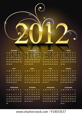 golden happy new year calender design