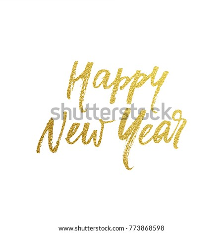 Golden Happy New Year calligraphy greeting card of hand drawn vector font lettering for New Year eve on white background. Golden paint brush New Year modern calligraphic design for winter holiday