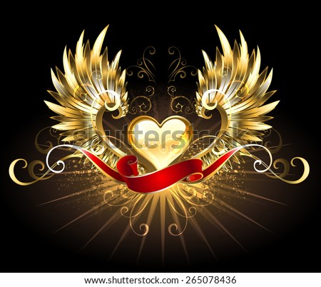 golden heart with golden wings