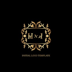 Golden HI Initial logo. Frame emblem ampersand deco ornament monogram luxury logo template for wedding or more luxuries identity