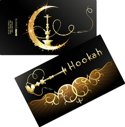 Golden hookah and shisha cafe business card