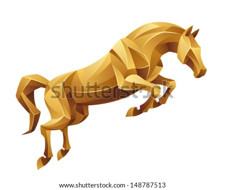 Golden horse jumping
