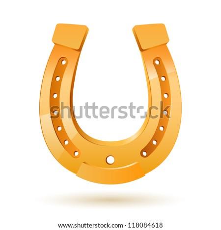 Golden horseshoe. Illustration on white background for design