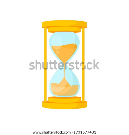 Golden hourglass  isolated on white background. Vintage sandglass with sand inside to measure time. Cartoon flat design. Vector illustration.