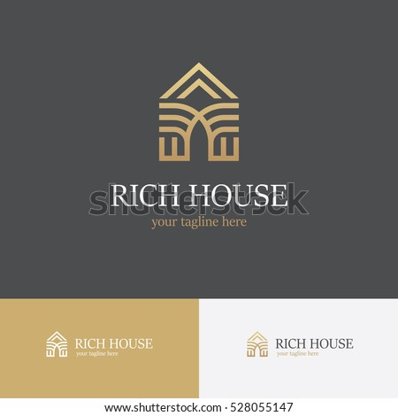 Golden house line icon. Can be used for realty estate, apartment, residential property or hotel logo template.
