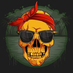 Golden human skull head with red bandana and sunglasses Gold Skeleton
