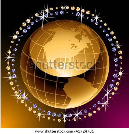 Golden image of an earth with diamonds
