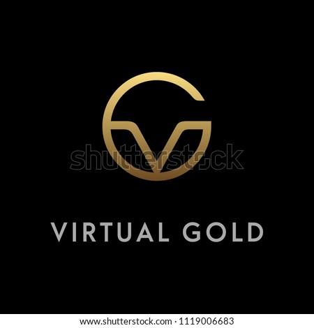 Golden Initial GV logo design inspiration