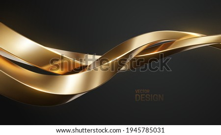 Golden intertwined shapes. Abstract luxurious background. Curvy stream. Abstract gold wave. Vector 3d illustration. Minimalist geometric cover design. Elegant backdrop. Jewelry pattern