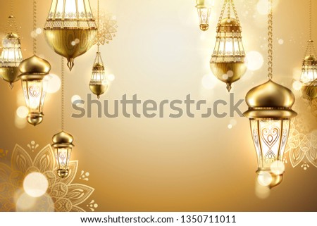 Golden islamic background with hanging lanterns and arabesque flowers